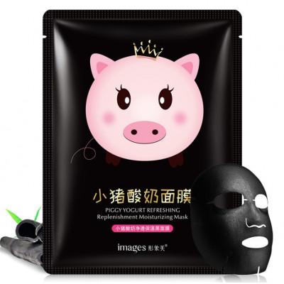 Йогуртовая лифтинг-маска для лица Piggy Yogurt Refreshing Black с бамбуком